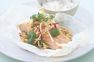 Запеченный лосось с рисом