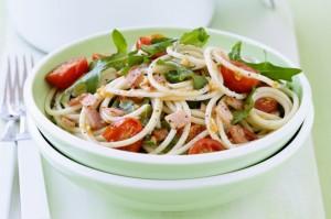 Спагетти с беконом и помидорами