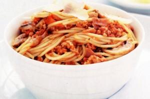 Спагетти с грибами и прошутто.