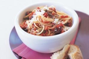 Спагетти с салями и оливками