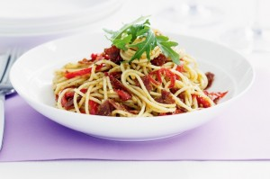 Спагетти с салями и паприкой