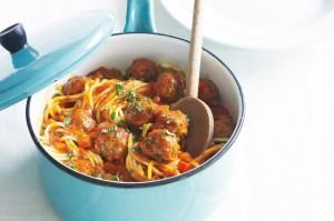 Спагетти с фрикадельками и грибами