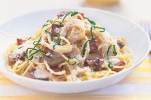 Сливочные спагетти с грибами, беконом и базиликом