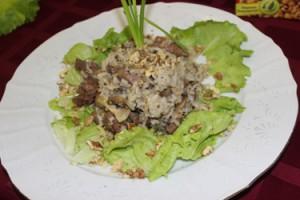 закуска-фламбе из куриной печени с рисом жасмин